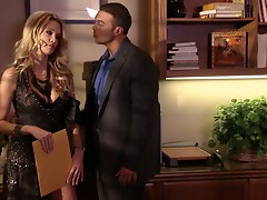 Slutty blond girlie Jessica Drake sucks a lawyer's cock