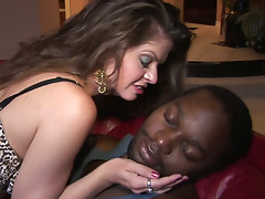 Sexited plump brunette June Summers wins a strong black dick