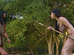 A hunter meets Pocahontas and thrusts her mouth with a fat cock