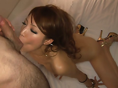 Sex appealing whore is sucking cock deepthroat and getting nailed hard in her quim