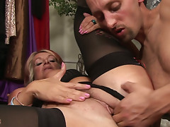 Blond milf Joanna Depp is mad about tough cock penetration
