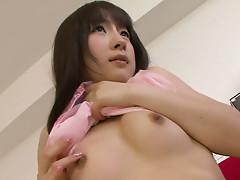 Sex Japanese bimbo getting naked and masturbating