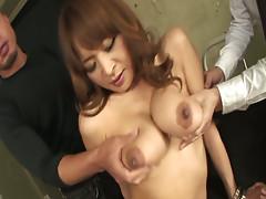 Busty chick Hikaru Wakabayashi sucks dildo toy