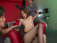 Glamorous jap cunt in fishnet stockings gets stimulating