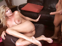 Busty blonde Bridget Lee has her soaking pussy pleased