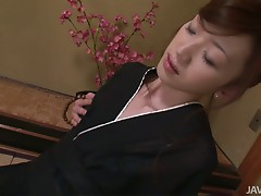Hot Japanese Hanai Kanon in Kimano stuffs her pussy with banana