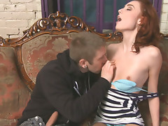 Redhead slut Zoe Voss gives great blowjob