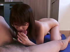 Pervert and naughty asian babe Rika Kitano is sucking dick and fucking hard in the office