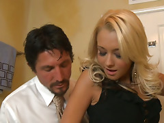 Briana Blair seduces a man right in toilet room