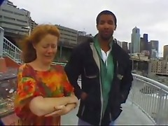 Hairy redhead Rhoda meets a guy and fucks him