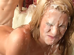 Sixsome orgy and cumshot shower.