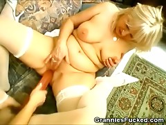 Hot Grannies Plays With Two Way Dildo