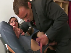 The boss takes advantage of his pretty assistant in his office