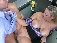 Horny office whore Abbey Brooks sucks a dick and fucks stretching her pussy