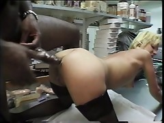 Perfect blonde in lingerie gets her asshole stretched out by giant black dick