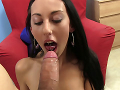 Sexy girl El Storm shows her round booty and gives blowjob to monster cock
