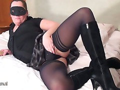 Horny masked mature slut getting wet