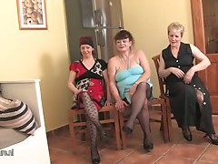 Three old mature sluts share one cock