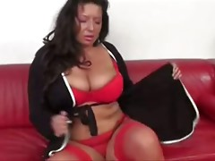 Milf in red stockings