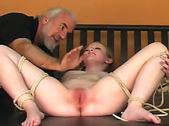 Sexy brunette being banged by fucking machine