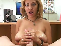 Sweet blonde Jazmyn is sucking dick