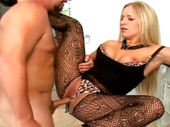 Mature blonde is getting facial load of jizz