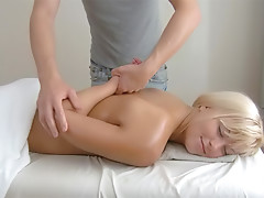 Chubby Viviana sucking cock after massage