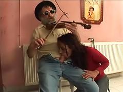 Slim babe Olya Keresztes fucking with old musician