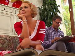 hot cheerleader chick Krissy Lynn sucking cock