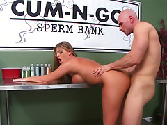 Nurse helps him cum at the sperm bank