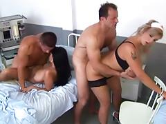 Hospital room hardcore group sex scene