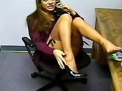 Nylon foot tease while on the phone