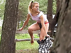 Girl in high heels pisses outdoors