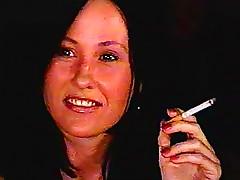 Pretty milf amateur smokes and smiles