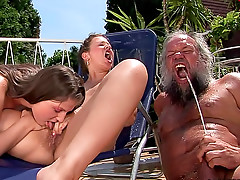 Dirty old man fucks pissing women