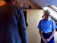 Blonde schoolgirl in pigtails spanked on ass