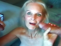 Grandma plowed in great threesome