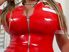 She zips up a latex nurse dress