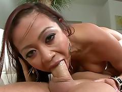Fake tits Asian deepthroats a cock