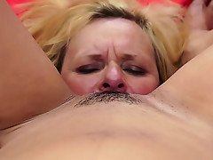 Teenage girl has fun with lesbian mature sluts