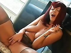 Redhead smokes and masturbates hot pussy