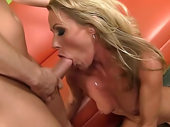 Eaten out blonde milf laid by big cock