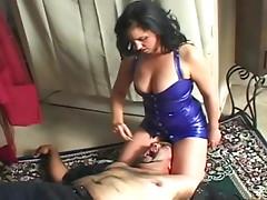 Facesitting goddess in tight latex dress