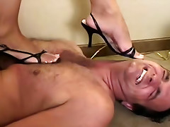 Busty brunette in black stockings is punishing her brave fucker