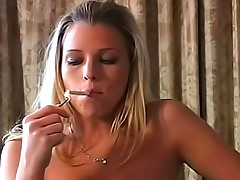 Cute blonde eats and smokes