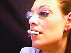 Milf smokes on webcam