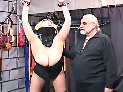 Big breasted blonde vixen fucks in the dugeon