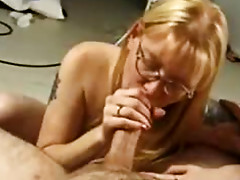 Small breasted nerdy bitch blows a huge hard meat rod