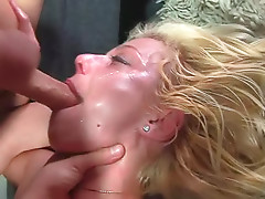 Beautiful blonde chick gives an amazing deep blowjob