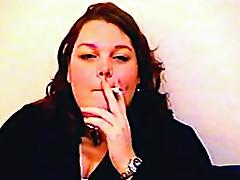 Chubby mature chick smokes on camera